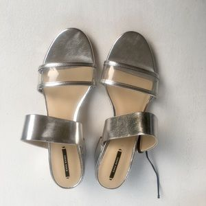 Zara Basic Metallic Silver Heeled Sandals